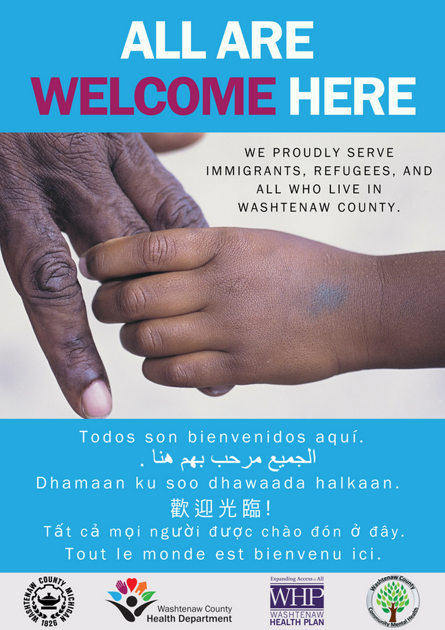 All are welcome here poster in blue