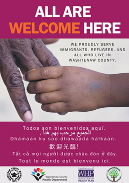 All are welcome poster in purple
