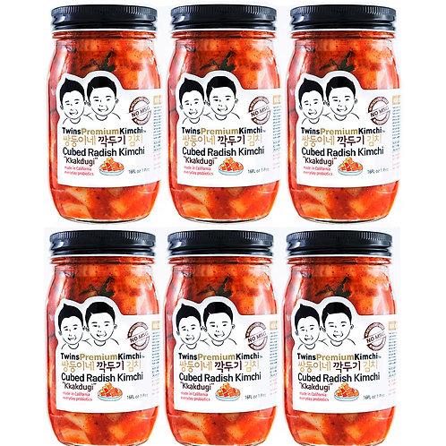 Twins Premium Cubed Radish Kimchi 16oz - 6pack