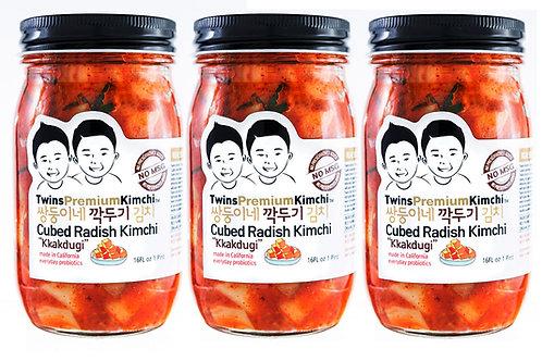Twins Premium Cubed Radish Kimchi 16oz - 3pack
