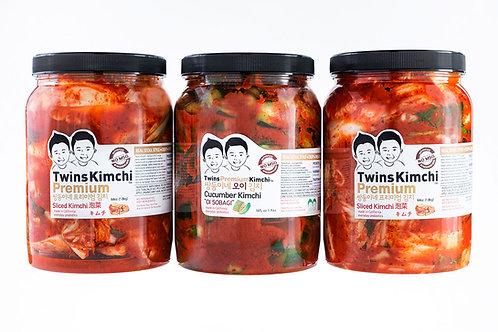 Twins Premium Kimchi 3Pack (2 Sliced & 1 Cucumber Kimchi) 64oz