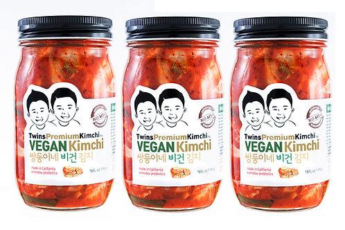 Twins Premium Sliced Vegan Kimchi 16oz 3pack