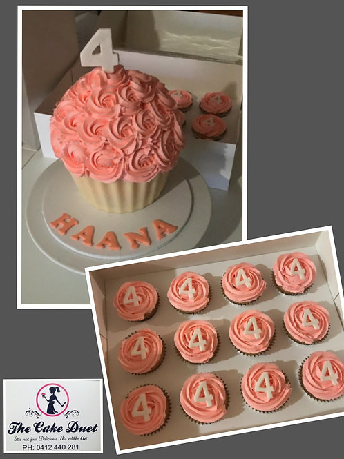 Giant Cupcake & Matching Cupcakes
