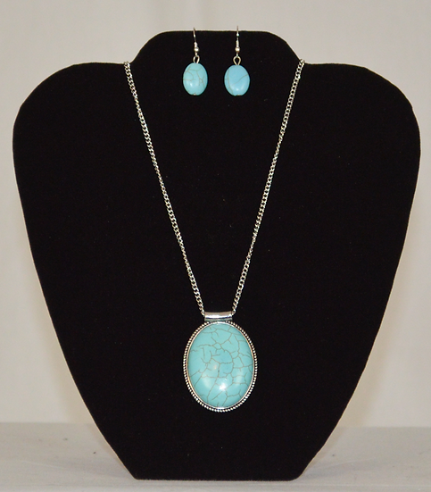 Light Blue Stone Necklace and Earrings Set