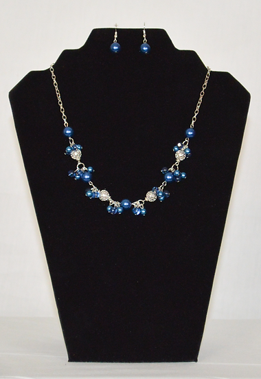 Blue Berry Fine Earrings and Necklace Set.