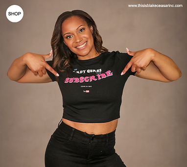 Lady Gurus SUBSCRIBE Black T  Model Dianne.png