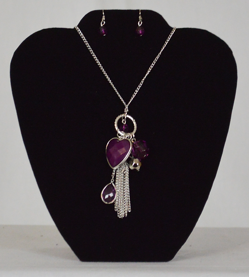 Purple Heart Collection Necklace and Earring Set