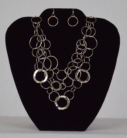 Bubble Circle Earrings and Necklace Set