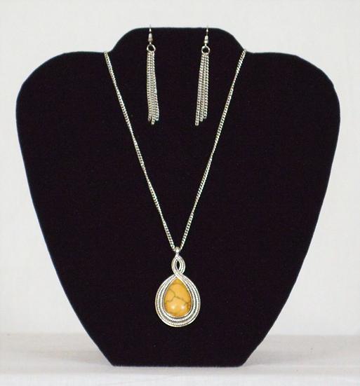 Orange Stone Earring and Necklace Set