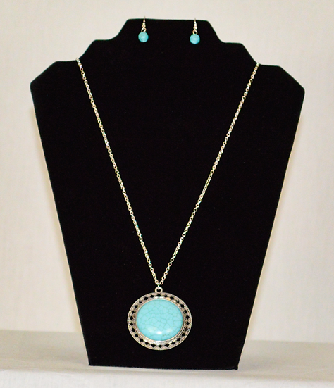 Long Sky Blue Circle Necklace and Earrings Set