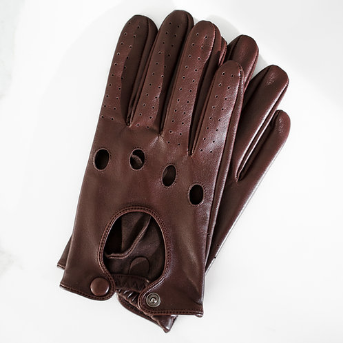 CHOCOLATE BROWN LEATHER DRIVING GLOVES