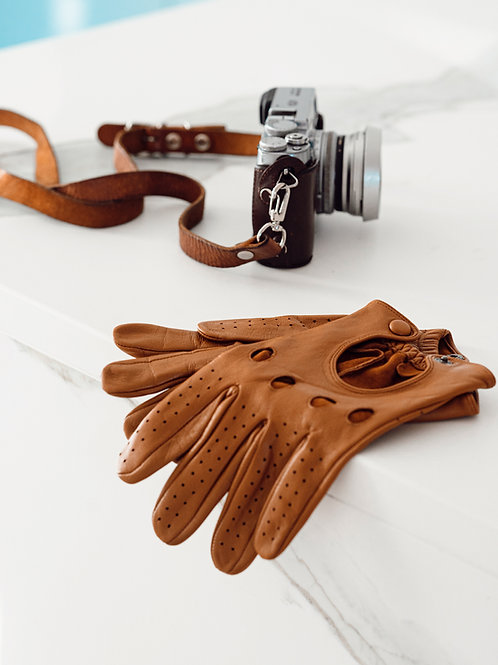 TAN BROWN LEATHER DRIVING GLOVES