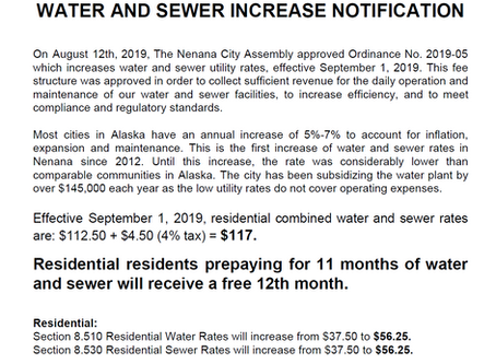 Water & Sewer Rates Increase