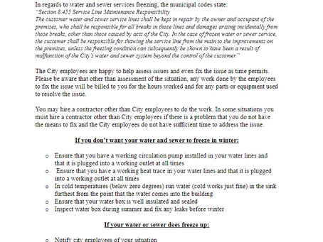 Water & Sewer Winterization