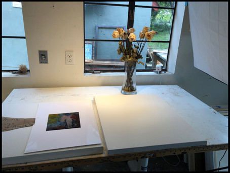 Drafting table and beautiful roses