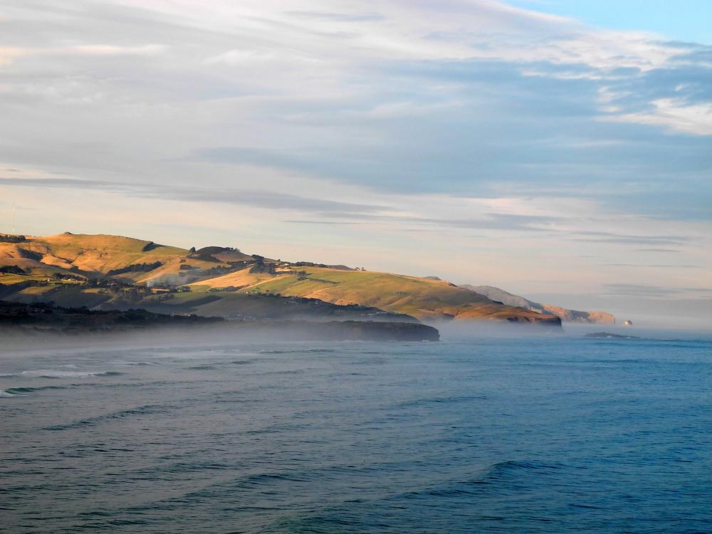 Brumes d'un soir sur Otago Peninsula.