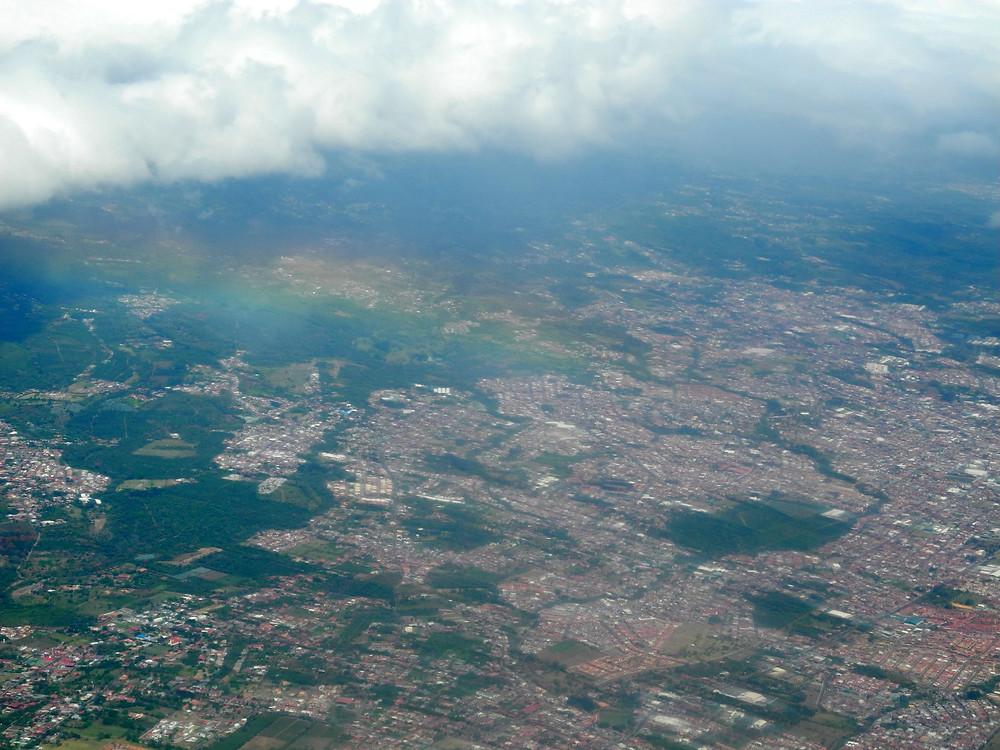 San José, capitale du Costa Rica, vue du ciel.