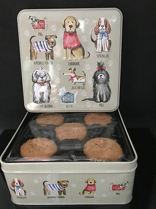 Blikken doos hondjes vulling koekjes