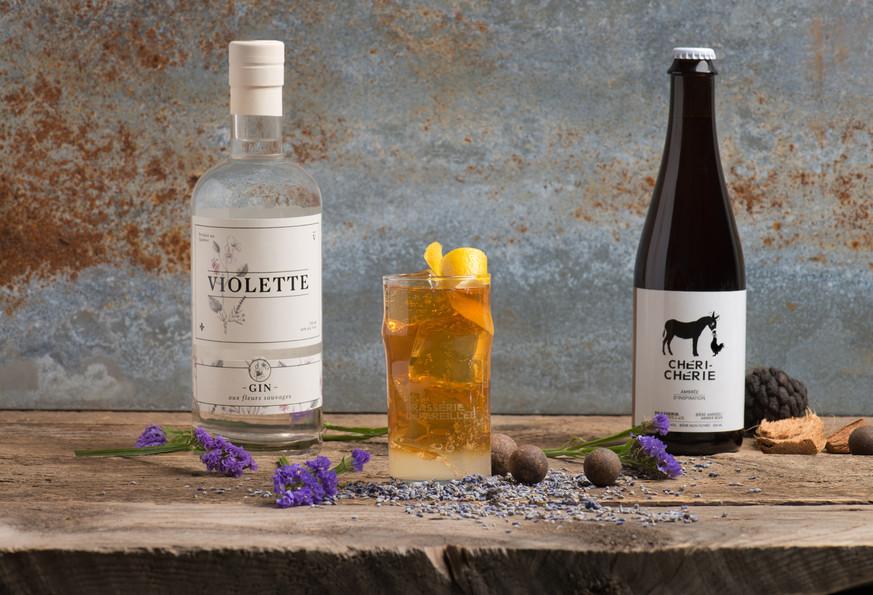 Cocktail Chérie et gin Violette