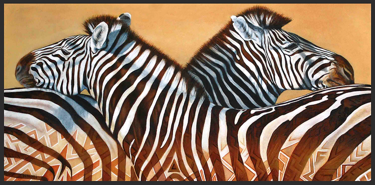 """wildlife art"". contemporary painting of African Zebra"