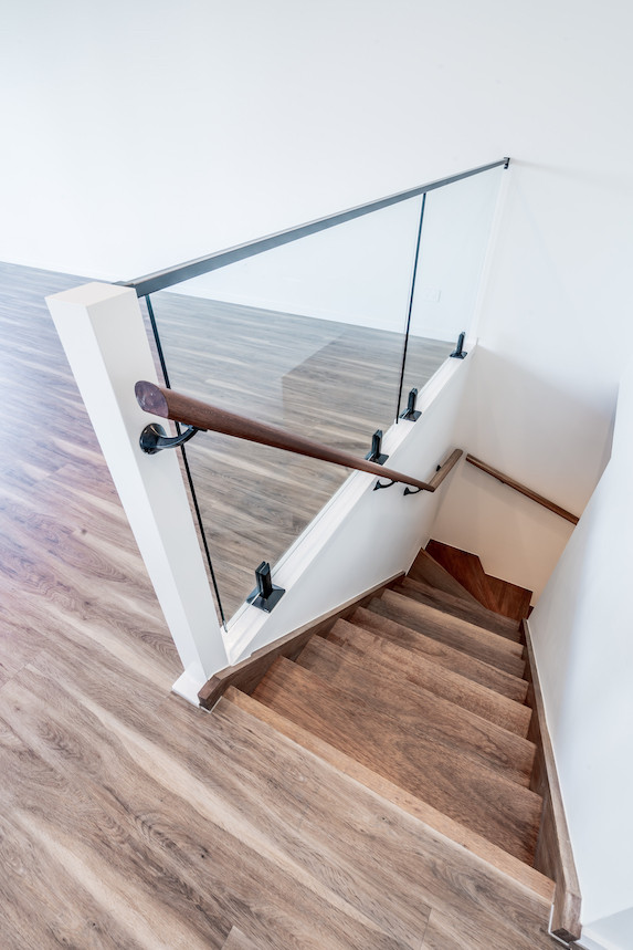 Matching timber on staircase treads makes for a seamless look