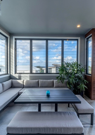 Top floor entertaining area with louvres