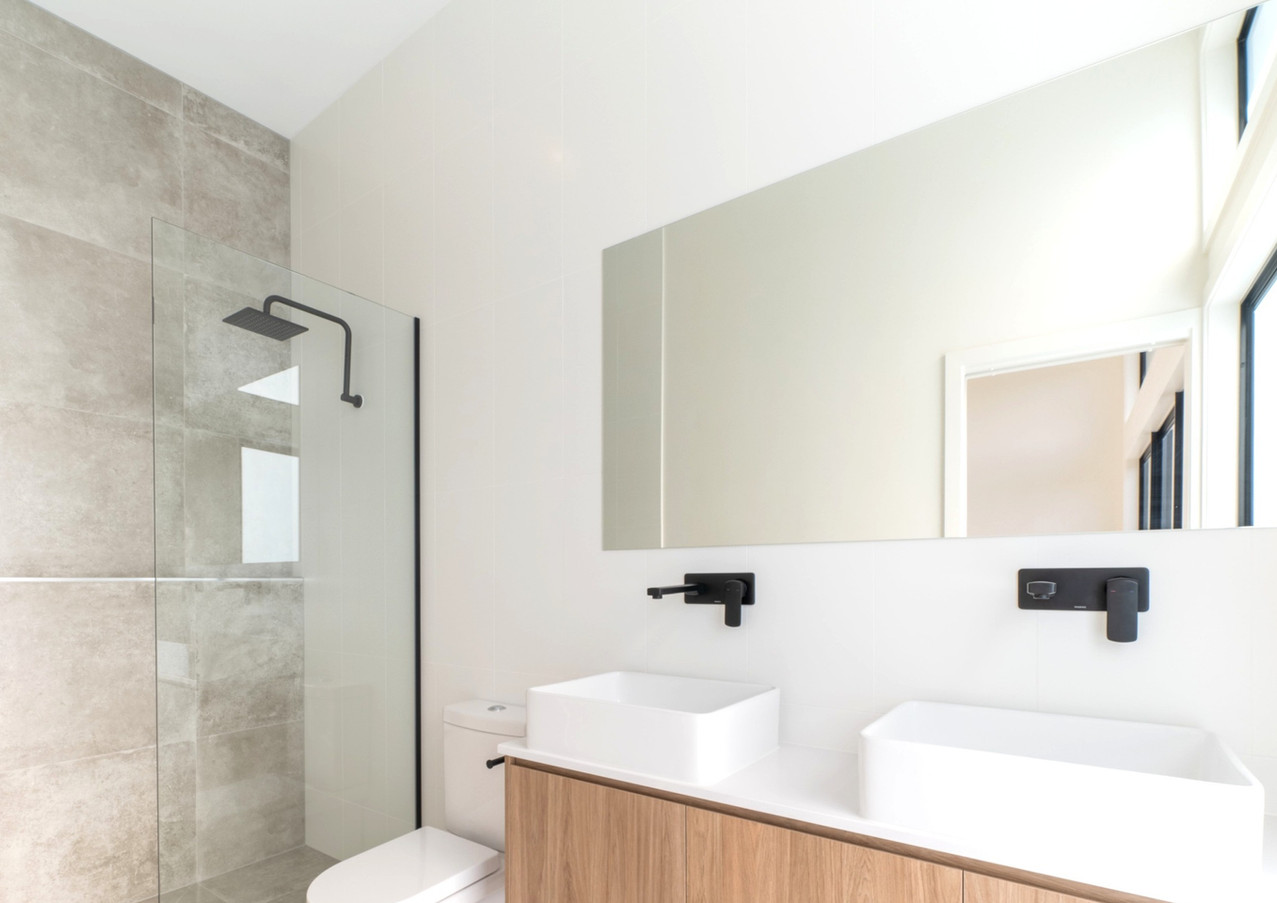 Simple clean lines in the bathrooms