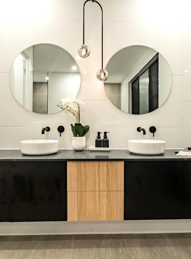 contemporary double vanity bathroom basins