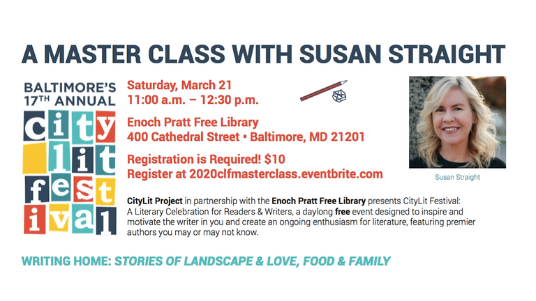 POSTPONED: Join Mixolo -  The Master Class with Susan Straight at CityLit Festival