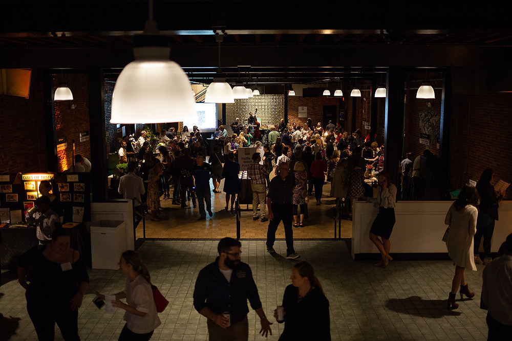 Crowd at foodie event Farm to Chef 2018 benefitting TasteWise Kids at event space, The Assembly Room.