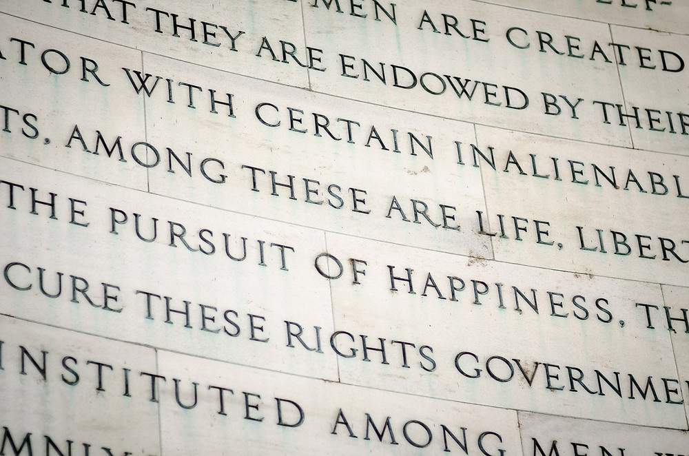Inscription from the Declaration of independence from the Jefferson Memorial in Washington, DC.