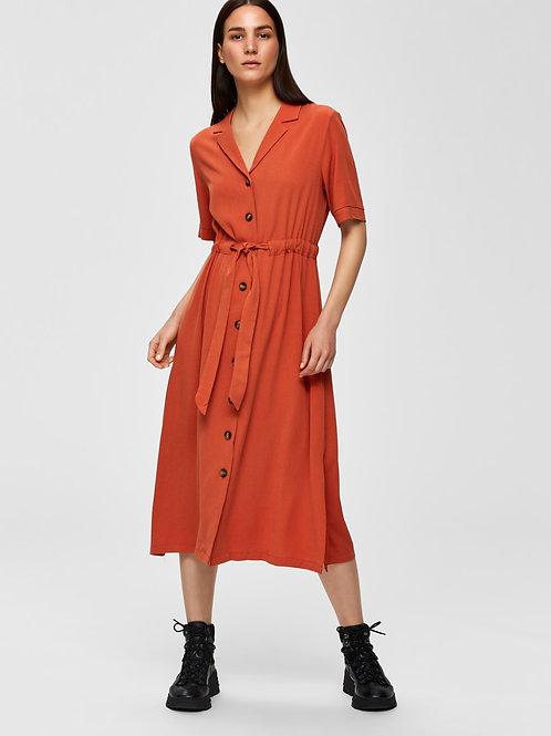 Midi kleedje met taille riem