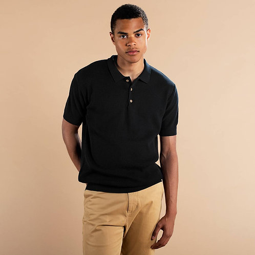 Gnesta black knit polo