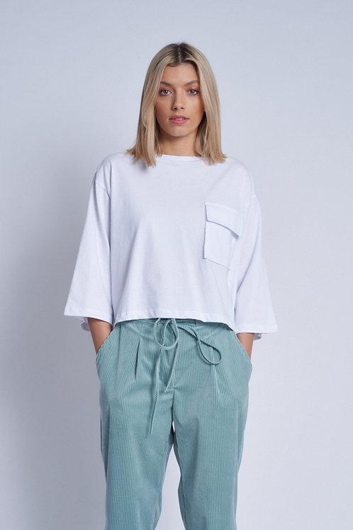 Cropped t-shirt met borstzakje