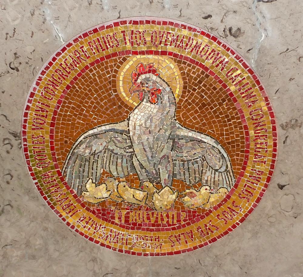 Altarbild nach Mat. 23:37 in der Dominus Flevit Kirche in Jerusaalem