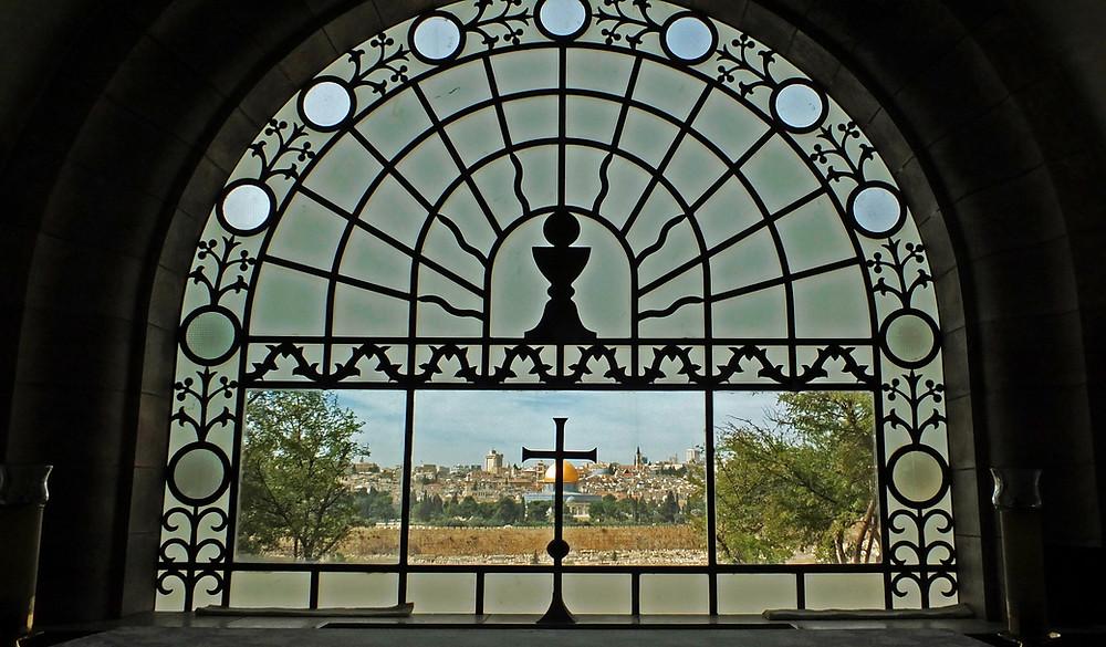 Ausblick von der Dominus Flevit Kirche auf die Stadt Jerusalem