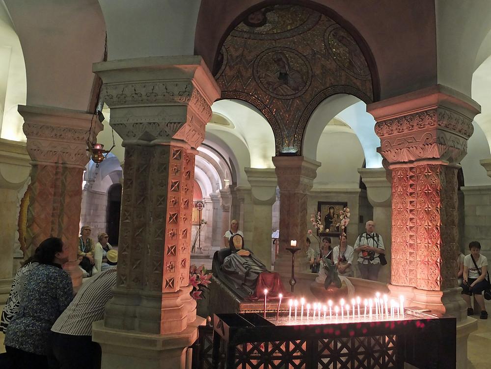 Zionsberg in Jerusalem -  Dormitio Abtei, Krypta