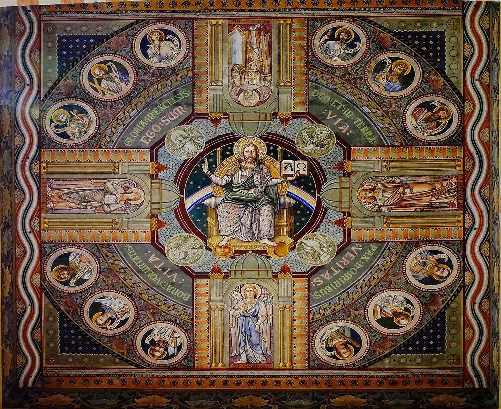 Jesus mit den 12 Aposteln, Deckenmalerei in der evangelischen Himmelfahrtskirche Auguste Viktoria auf dem Ölberg in Jerusalem