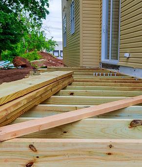 A new wooden, timber deck being construc
