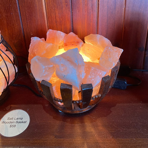Wooden Flower Basket Salt Lamp