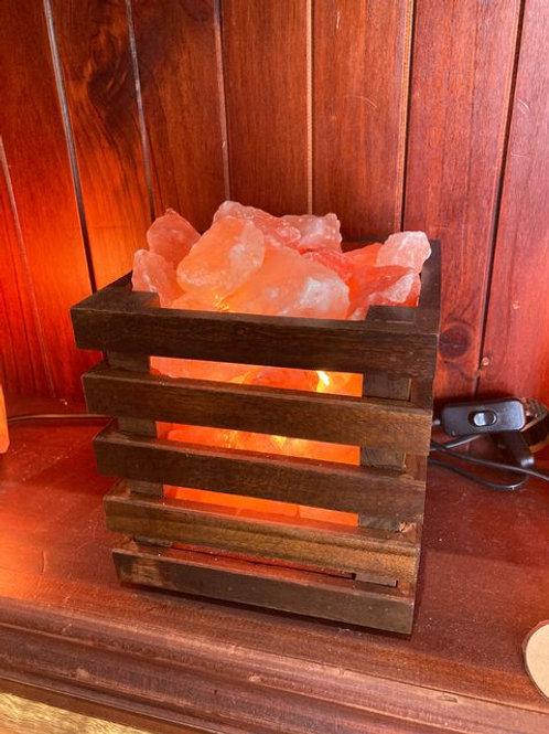 Wooden Cage Salt Lamp
