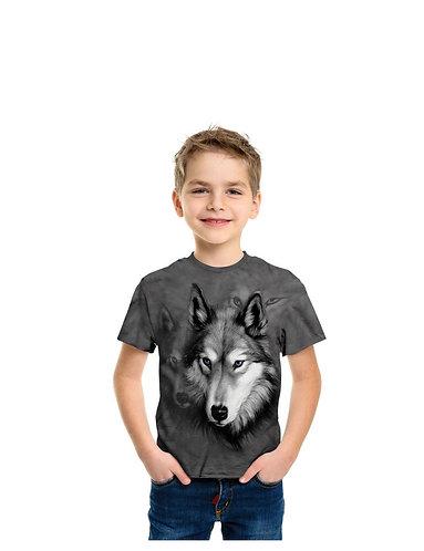 The Mountain Wolf Portrait Animal Kids T Shirt