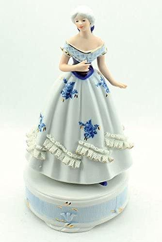 Spieluhr Porzellandame blau-weiß