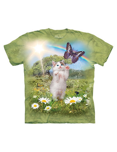 Kinder-T-Shirt Cat and Butterfly
