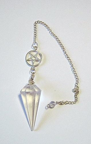 Pendel Bergkristall facettiert mit Pentagramm Kette