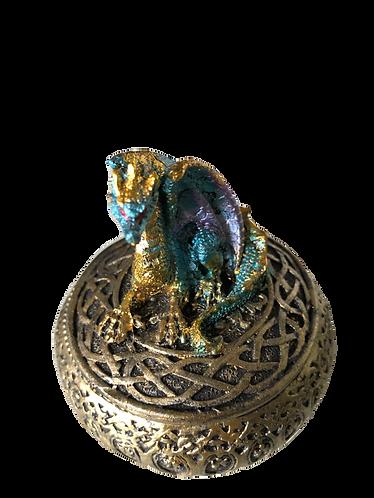 Drachenbox goldfarben mit blauem Drachen