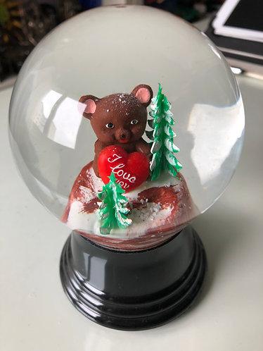 Schneekugel mit Bär I love you