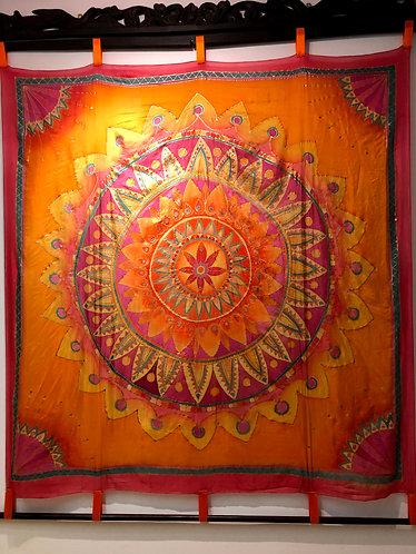 Wandbild Mandala orange