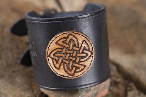 Herren-Lederarmband Keltischer Knoten schwarz