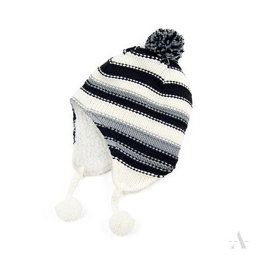 Kinder-Ohrenmütze schwarz weiß grau